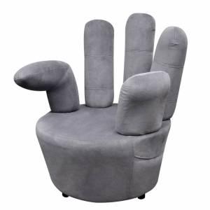 Πολυθρόνα σε Σχήμα Χεριού Γκρι Βελούδινη