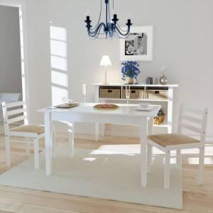 Καρέκλες Τραπεζαρίας 2 τεμ. Λευκές Καουτσουκόδεντρο/Βελούδο
