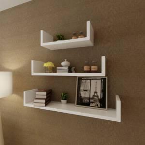 Ράφια Τοίχου για Βιβλία/DVD Σχήματος U 3 τεμ. Λευκά από MDF