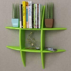 Ράφι Τοίχου για Βιβλία/DVD Πράσινο από MDF
