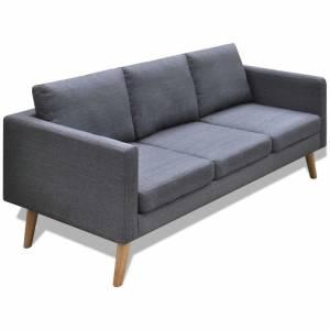 Καναπές Τριθέσιος Σκούρο Γκρι Υφασμάτινος