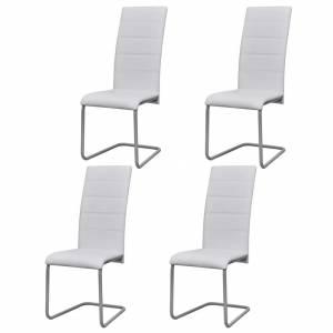 Καρέκλες Τραπεζαρίας «Πρόβολος» 4 τεμ. Λευκές Συνθετικό Δέρμα