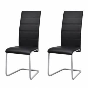 Καρέκλες Τραπεζαρίας «Πρόβολος» 2 τεμ. Μαύρες Συνθετικό Δέρμα