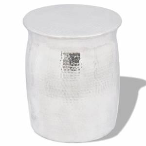 Σκαμπό / Βοηθητικό Τραπέζι Hammered Ασημί από Αλουμίνιο