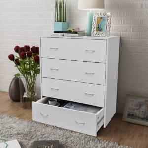 Συρταριέρα με 4 Συρτάρια Λευκή 60 x 30,5 x 71 εκ.