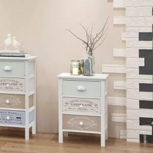 Συρταριέρα με 3 Συρτάρια Στιλ Γαλλικής Εξοχής Ξύλινη