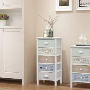 Συρταριέρα με 5 Συρτάρια Στιλ Γαλλικής Εξοχής Ξύλινη
