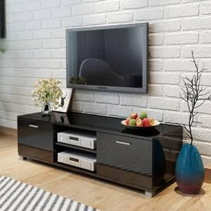 Έπιπλο Τηλεόρασης Γυαλιστερό Μαύρο 140 x 40,3 x 34,7 εκ.
