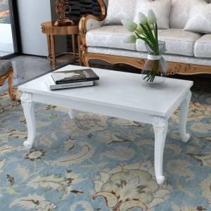 Τραπεζάκι Σαλονιού Γυαλιστερό Λευκό 100 x 60 x 42 εκ.