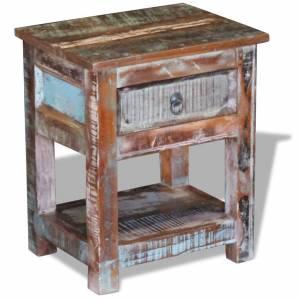 Τραπέζι Βοηθητικό με 1 Συρτάρι από Μασίφ Ανακυκλωμένο Ξύλο