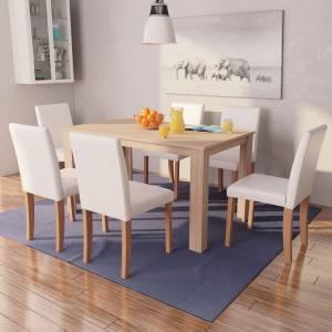 Τραπεζαρία & Καρέκλες 7 τεμ. Κρεμ Συνθετικό Δέρμα / Ξύλο Δρυός