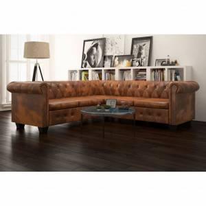 Καναπές Γωνιακός 5 Θέσεων Chesterfield Καφέ Συνθετικό Δέρμα