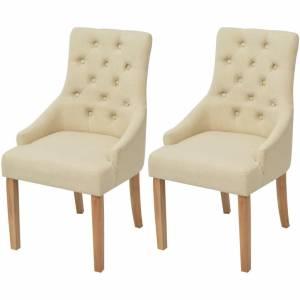 Καρέκλες Τραπεζαρίας 2 τεμ. Κρεμ Υφασμάτινες Δρύινες