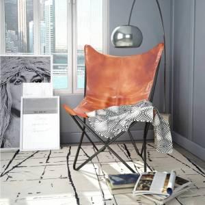 Καρέκλα Πεταλούδα Καφέ από Γνήσιο Δέρμα