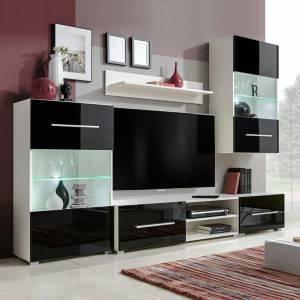 Σύνθετο Τηλεόρασης με Φωτισμό LED 5 τεμ. Μαύρο