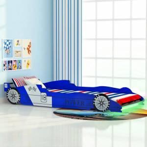 Κρεβάτι Παιδικό Αγωνιστικό Αυτοκίνητο με LED Μπλε 90 x 200 εκ.