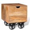 Τραπέζι Βοηθητικό με Συρτάρι & Ροδάκια 40x40x45 εκ. Ξύλο Μάνγκο