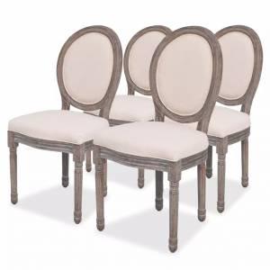 Καρέκλες Τραπεζαρίας 4 τεμ. Κρεμ Υφασμάτινες