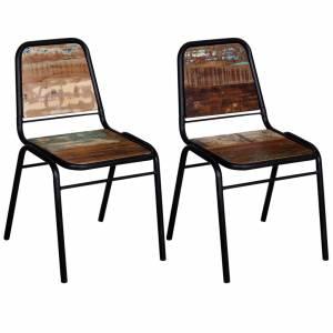 Καρέκλες Τραπεζαρίας 2 τεμ. από Μασίφ Ανακυκλωμένο Ξύλο