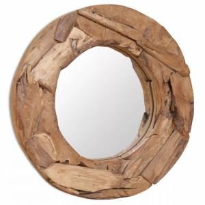 Καθρέφτης Διακοσμητικός Στρογγυλός 60 εκ. από Ξύλο Teak