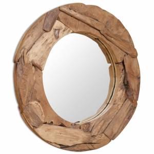 Καθρέφτης Διακοσμητικός Στρογγυλός 80 εκ. από Ξύλο Teak