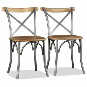 Καρέκλες Τραπεζαρίας 2 τεμ. από Μασίφ Ξύλο Μάνγκο