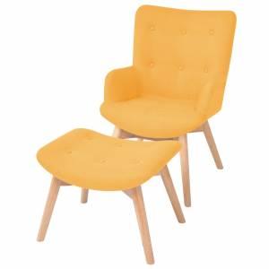 Πολυθρόνα Κίτρινη Υφασμάτινη με Υποπόδιο