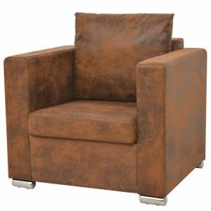 Πολυθρόνα Καφέ από Συνθετικό Καστόρι