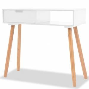 Τραπέζι Κονσόλα Λευκό 80 x 30 x 72 εκ. από Μασίφ Ξύλο Πεύκου