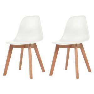 Καρέκλες Τραπεζαρίας 2 τεμ. Λευκές Πλαστικές