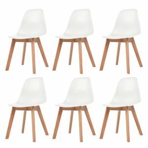 Καρέκλες Τραπεζαρίας 6 τεμ. Λευκές