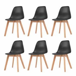 Καρέκλες Τραπεζαρίας 6 τεμ. Μαύρες Πλαστικές