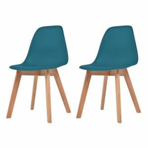 Καρέκλες Τραπεζαρίας 2 τεμ. Τιρκουάζ Πλαστικές
