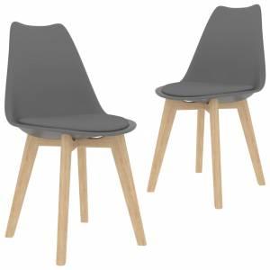 Καρέκλες Τραπεζαρίας 2 τεμ. Γκρι από Συνθετικό Δέρμα