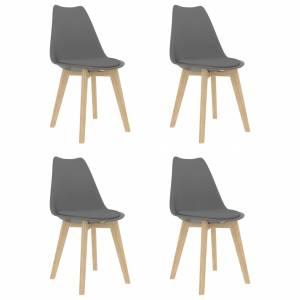 Καρέκλες Τραπεζαρίας 4 τεμ. Γκρι από Συνθετικό Δέρμα