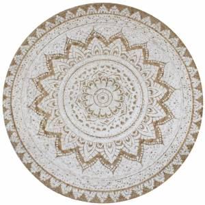 Χαλί Πλεκτό Στρογγυλό με Σχέδιο 120 εκ. από Γιούτα