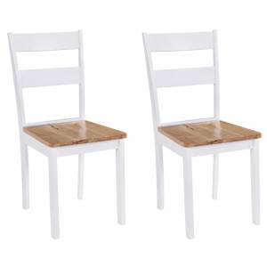 Καρέκλες Τραπεζαρίας 2 τεμ. Λευκές Μασίφ Ξύλο Καουτσουκόδεντρου