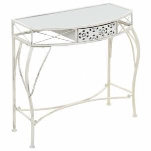 Βοηθητικό Τραπέζι Γαλλικό Στιλ Λευκό 82 x 39 x 76 εκ. Μεταλλικό