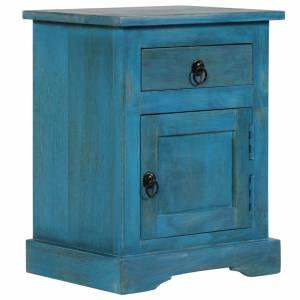Κομοδίνο Μπλε 40 x 30 x 50 εκ. από Μασίφ Ξύλο Μάνγκο