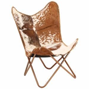 Καρέκλα Πεταλούδα Καφέ και Λευκό από Γνήσιο Δέρμα Κατσίκας