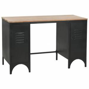 Γραφείο με Ντουλάπια 120 x 50 x 76 εκ. Μασίφ Ξύλο Ελάτης/Ατσάλι