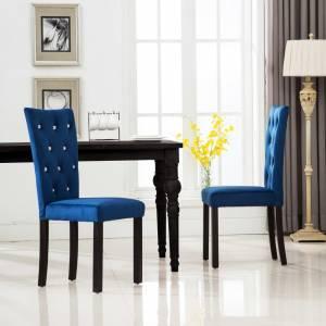 Καρέκλες Τραπεζαρίας 2 τεμ. Σκούρο Μπλε Βελούδινες
