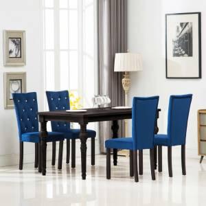 Καρέκλες Τραπεζαρίας 4 τεμ. Σκούρο Μπλε Βελούδινες
