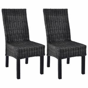 Καρέκλες Τραπεζαρίας 2 τεμ. Μαύρες από Ρατάν Kubu / Ξύλο Μάνγκο