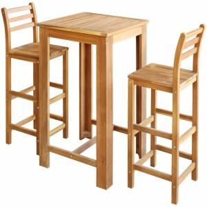 Σετ Τραπέζι και Καρέκλες Μπαρ 3 τεμ. από Μασίφ Ξύλο Ακακίας
