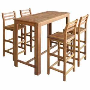Σετ Τραπέζι και Καρέκλες Μπαρ 5 τεμ. από Μασίφ Ξύλο Ακακίας