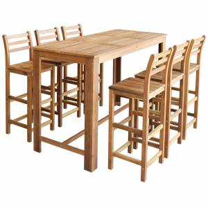 Σετ Τραπέζι και Καρέκλες Μπαρ 7 τεμ. από Μασίφ Ξύλο Ακακίας