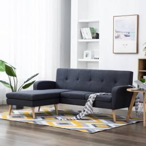 Καναπές Γωνιακός Σκούρο Γκρι 186 x 136 x 79 εκ. Υφασμάτινος