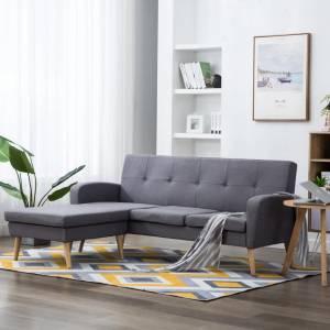 Καναπές Γωνιακός Ανοιχτό Γκρι 186 x 136 x 79 εκ. Υφασμάτινος