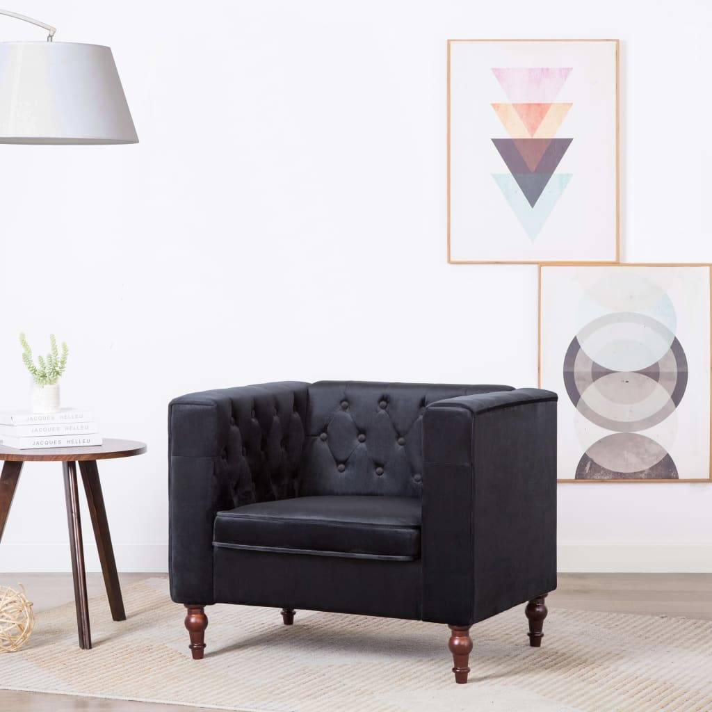 Πολυθρόνα Μαύρη 86 x 67 x 71 εκ. Βελούδινη Ταπετσαρία